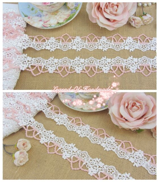 """1.5""""*1Y Beautiful Venise Lace Trim~White+Coral Pink~Beautiful Little Fairy~"""