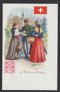 Kunzli-ca-1900-mint-PPC-La-Poste-en-Suisse-Switzerland-Letter-Carrier-Flag