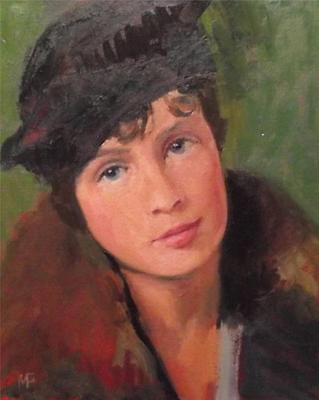 "The Pilbox Hat :Nostalgic Lady Original Oil Painting by Nigel Mason 10"" X 8"""