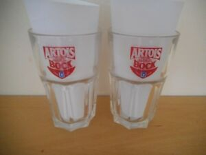 2-x-Vintage-Rare-Artois-Bock-Half-Pint-Beer-Glasses-Excellent-Condition
