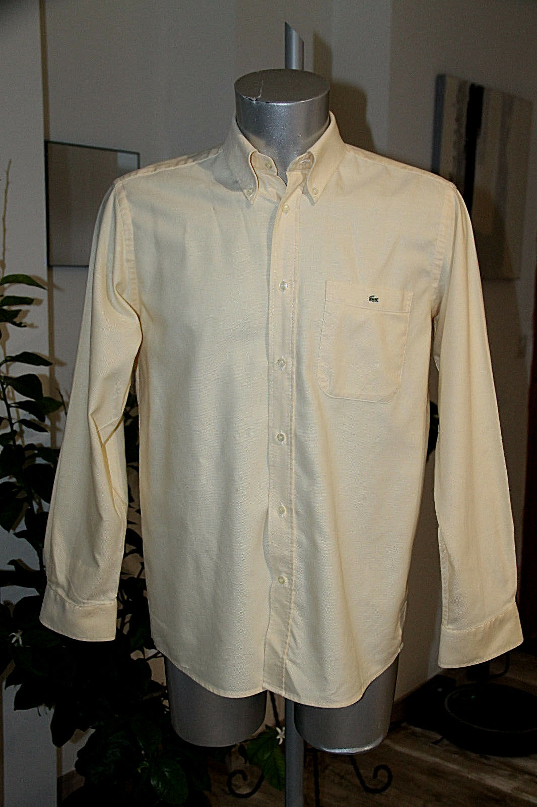 Pretty Shirt Cotton Yellow Lacoste Size 40 in Excellent Condition