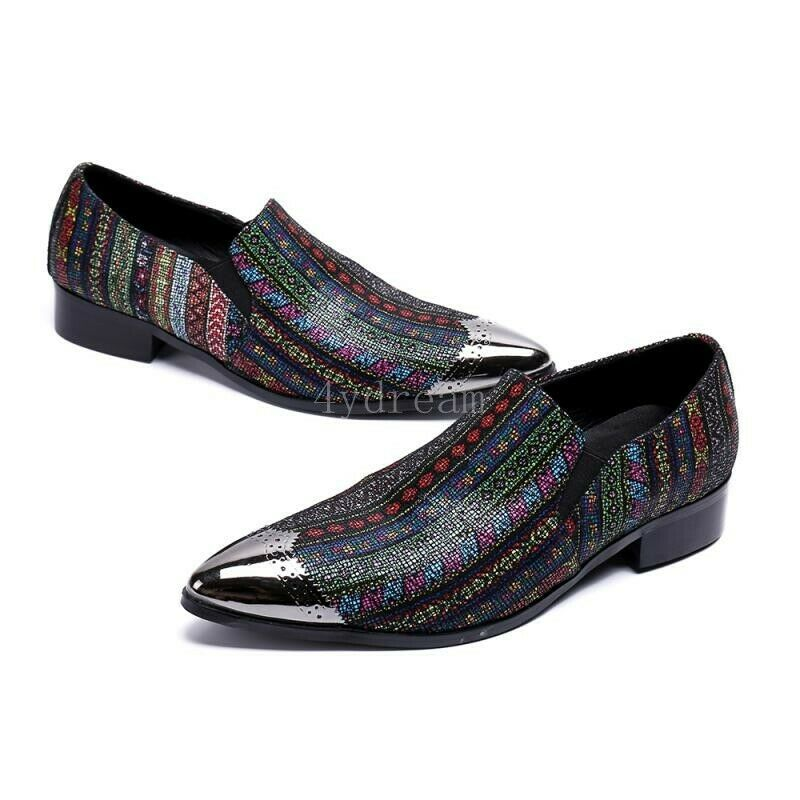 Retro Men Pointy Toe multicolor Slip On shoes Dress Leather Formal Wedding shoes