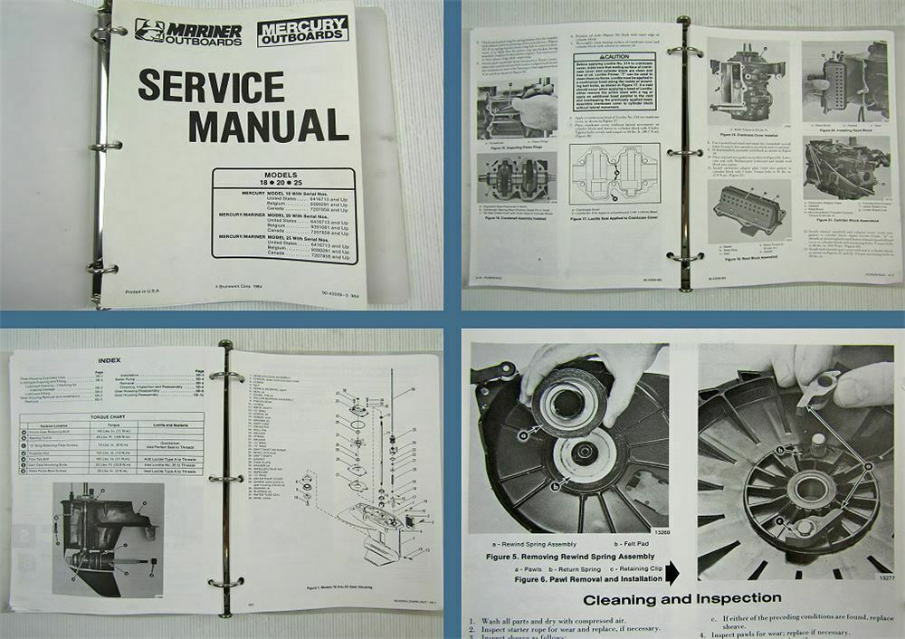 Mariner Mercury 18 20 25 Engine Outboards Service Manual 1984