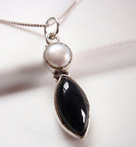 Cultured-Pearl-and-Black-Onyx-Marquise-925-Sterling-Silver-Pendant-Corona-Sun