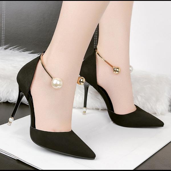 Éscarpins Sandales Élégant noir Ceinture Fine 10 cm Confortable Cuir Synthetique