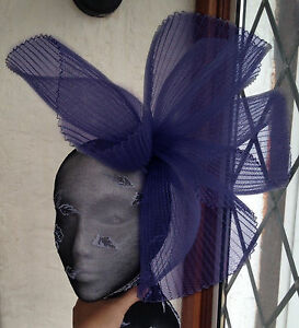4c8b0399 Image is loading navy-blue-fascinator-millinery-burlesque-wedding-hat-ascot-