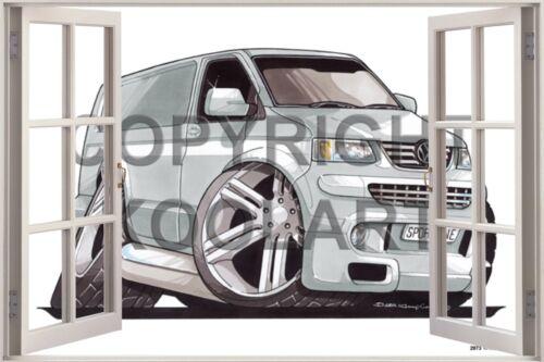 Huge 3D Koolart Window view Volkswagen Transporter T5 Wall Sticker Poster 2973
