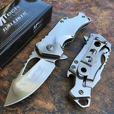 MTech Ballistic Silver w Steel Blade Small Pocket Camping Knife w/ Bottle Opener