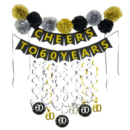 60th Birthday Party Decorations Kit with Pre-Strung Banner Paper Pom Poms