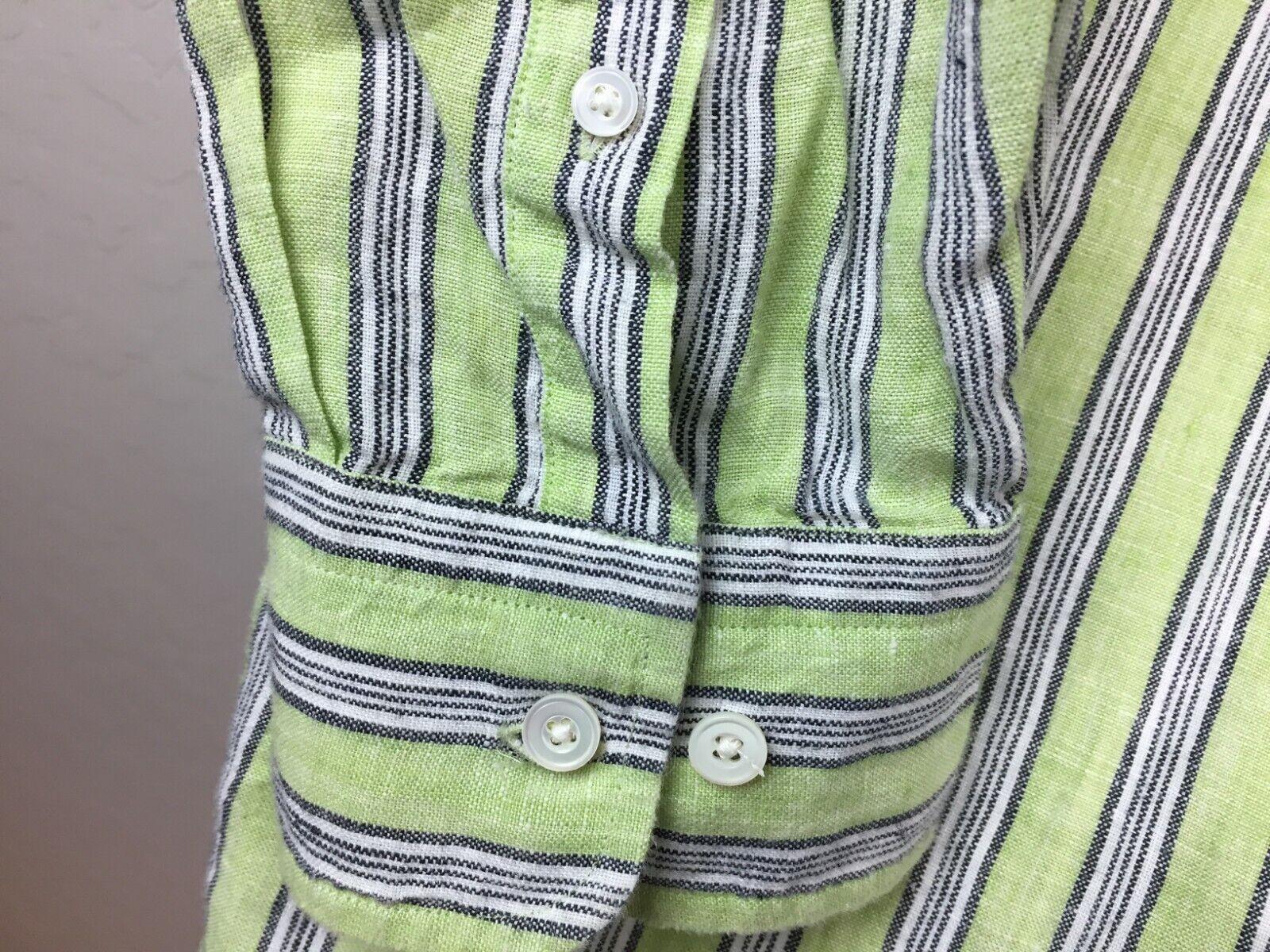 Express Men's Green Striped Button Up Shirt White… - image 5