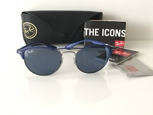 5396d081910 NWT Ray Ban Sunglasses RB 3596 9005 80 Gunmetal on top Matte Blue ...