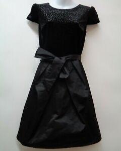 Ivy-and-Blu-Maggie-Boutique-2-Black-Womens-Dress-Velvet-Taffeta-Belted-XS-LBD