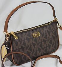 NWT Michael Kors  Jet Set Crossbody Pouchette Brown Signature  Convertible Bag