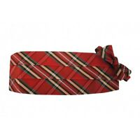 Scottish Tartain Plaid Cummerbund And Bow Tie Set