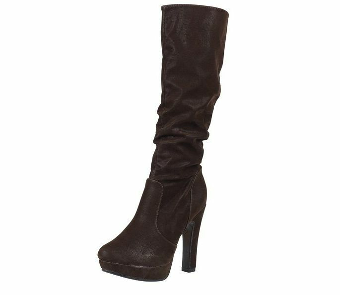 New Women's Ladies High Knee Chunky Platform Heel Stretch Girls Boots Size 3-8
