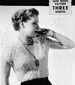 aef2eb3b2 VTG 1940s KNITTING PATTERN To Make a LADIES LACY V-NECK JUMPER ...