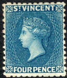 St Vincent 1862 deep-blue 4d no watermark perf 11 mint SG6