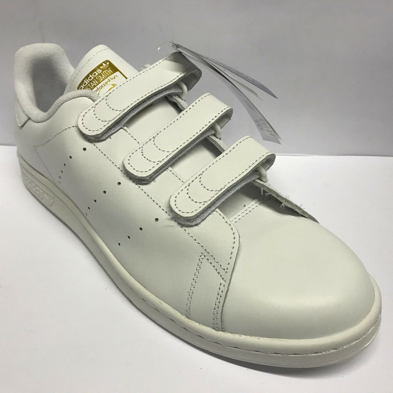 Mens Adidas Stan Smith Cf WHITE GOLD Trainers Adidas Size 12 Tab Fastening