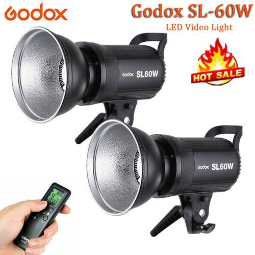 2X Godox SL-60W 5600K LED Lampe Dauerlicht Studioleuchte mit Fernbedienung J0V8