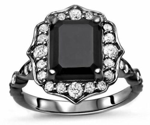 2.25 Ct Floral Black Emerald Cut Diamond Engagement Ring In 925 Sterling Silver
