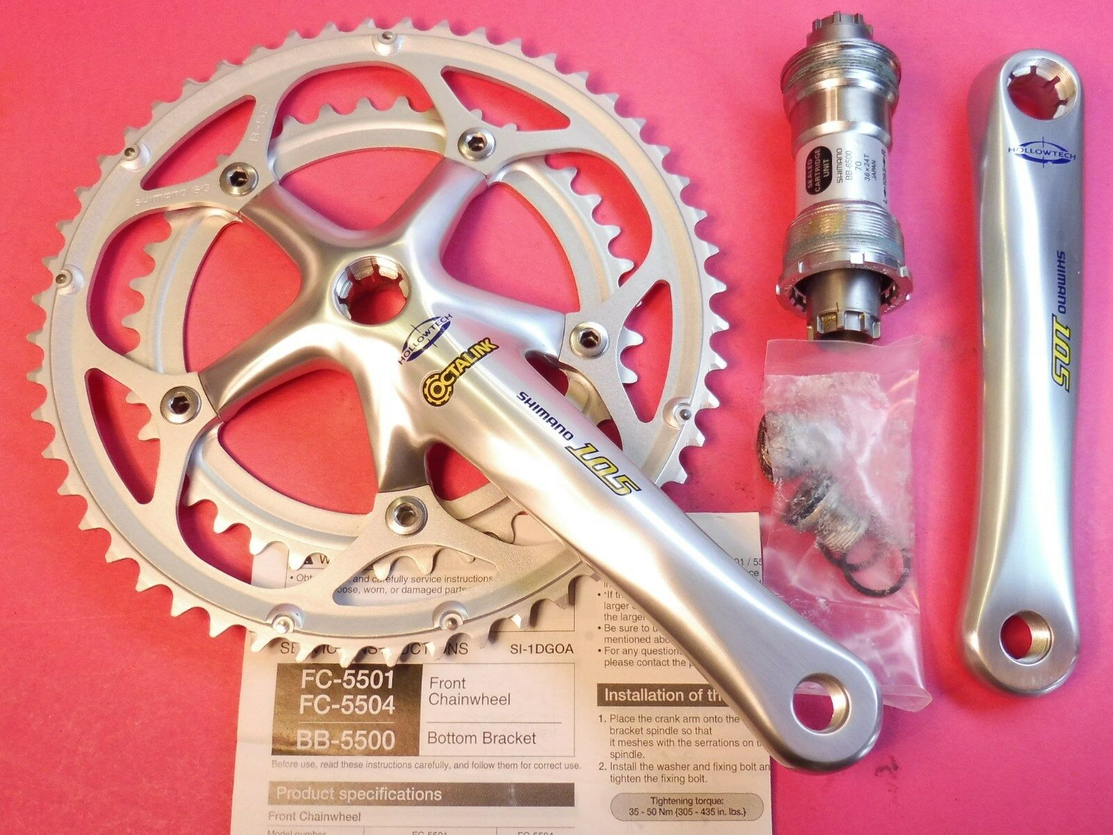 Shimano  5501   9 Sp.   bicycle chainset 170 39.52   65 70-109 bb set  NOS