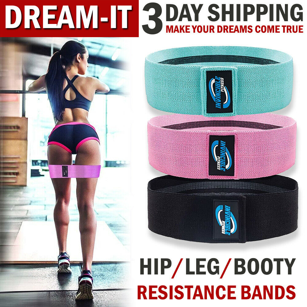 Workout Yoga Hip Stretch Bands Fabric Elastic Non Slip Anti Roll 15.0 L x 3.2 W, Thick JUREX Resistance Bands Booty Exercise Fitness Loop for Legs and Butt