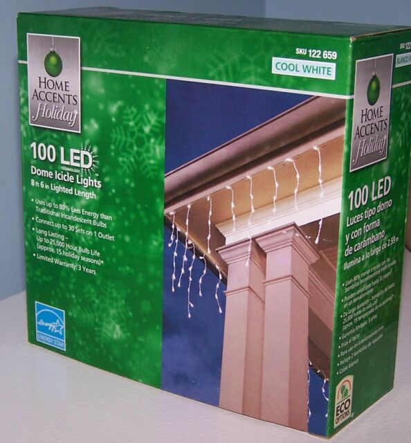 Home Accents 100 Led Dome Icicle Lights Cool White Holiday Christmas