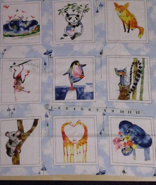 Fox, panda, giraff wild animal panels,Clothworks friends in wild places Y1636-29