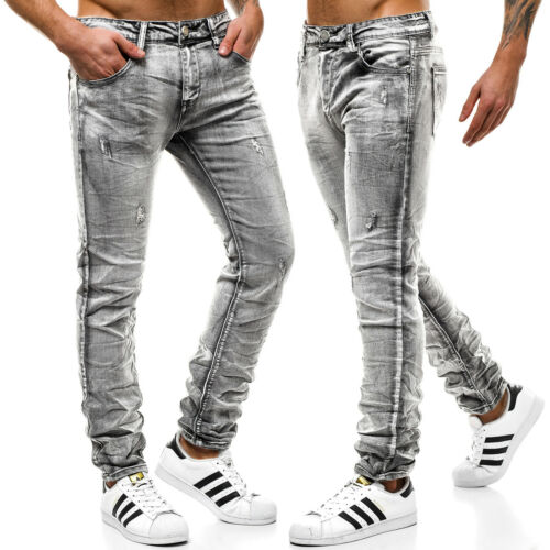 Jeanshose Röhrenjeans Straight Slim Fit Hose Clubwear Herren OZONEE 9101 MIX