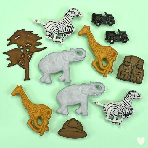Botones en abundancia en Safari 4114-Elefante Jirafa Cebra árbol Dress It Up
