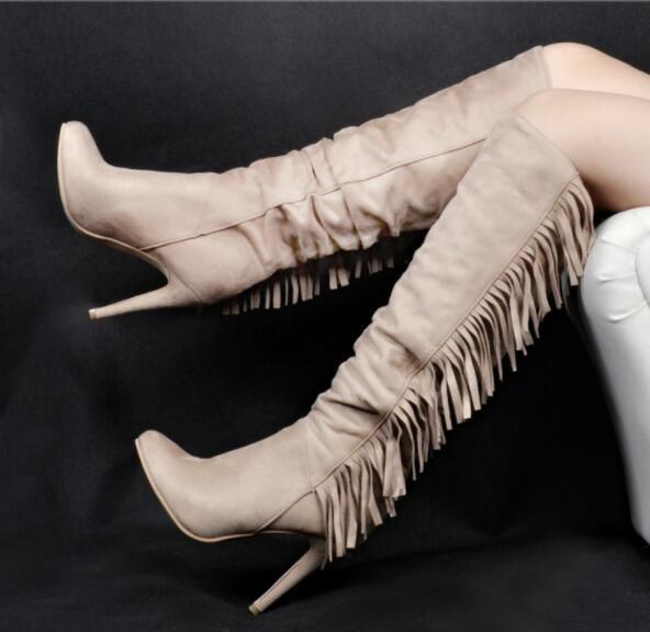 Femme européenne Tassel hautes Knight débarrasser Bottes Stilettos Talon Haut Chaussures