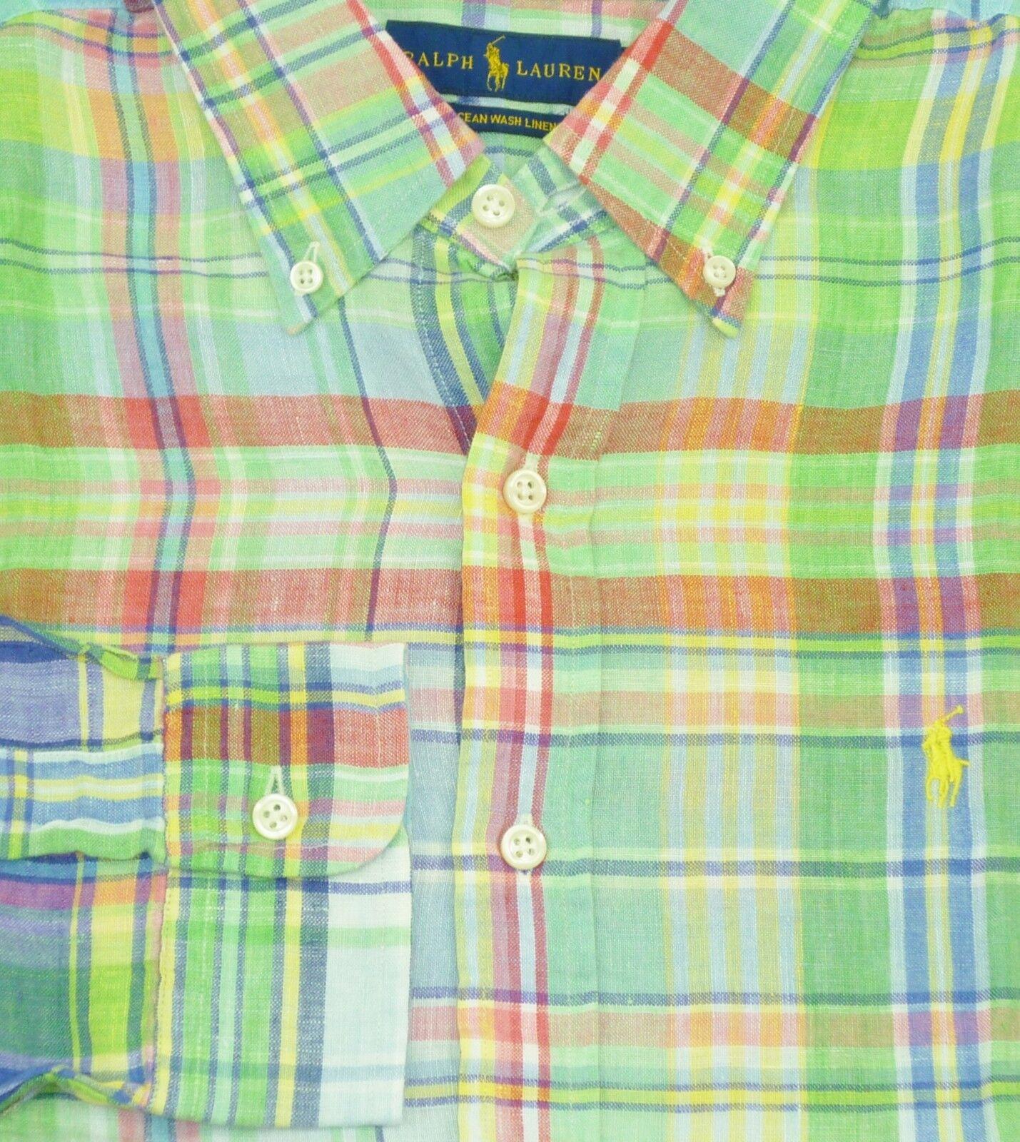 Ralph LAUREN uomo Classic Classic Classic Fit L S lavato Lino Sports camicia taglia small UK36-38  67010f