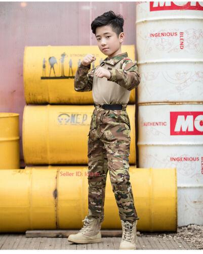 Kids Camo Tactical Combat Uniform Sets Airsoft Army Shirt /& Pants Military Suit