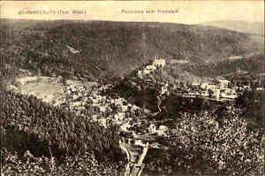 Schwarzburg-Turingia-vecchia-AK-Panorama-sguardo-1921-N-Stade-superpetroliere-cartolina
