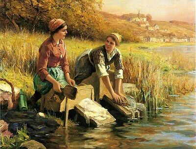 Wonderful Oil painting Women Washing Clothes by a Stream in summer landscape