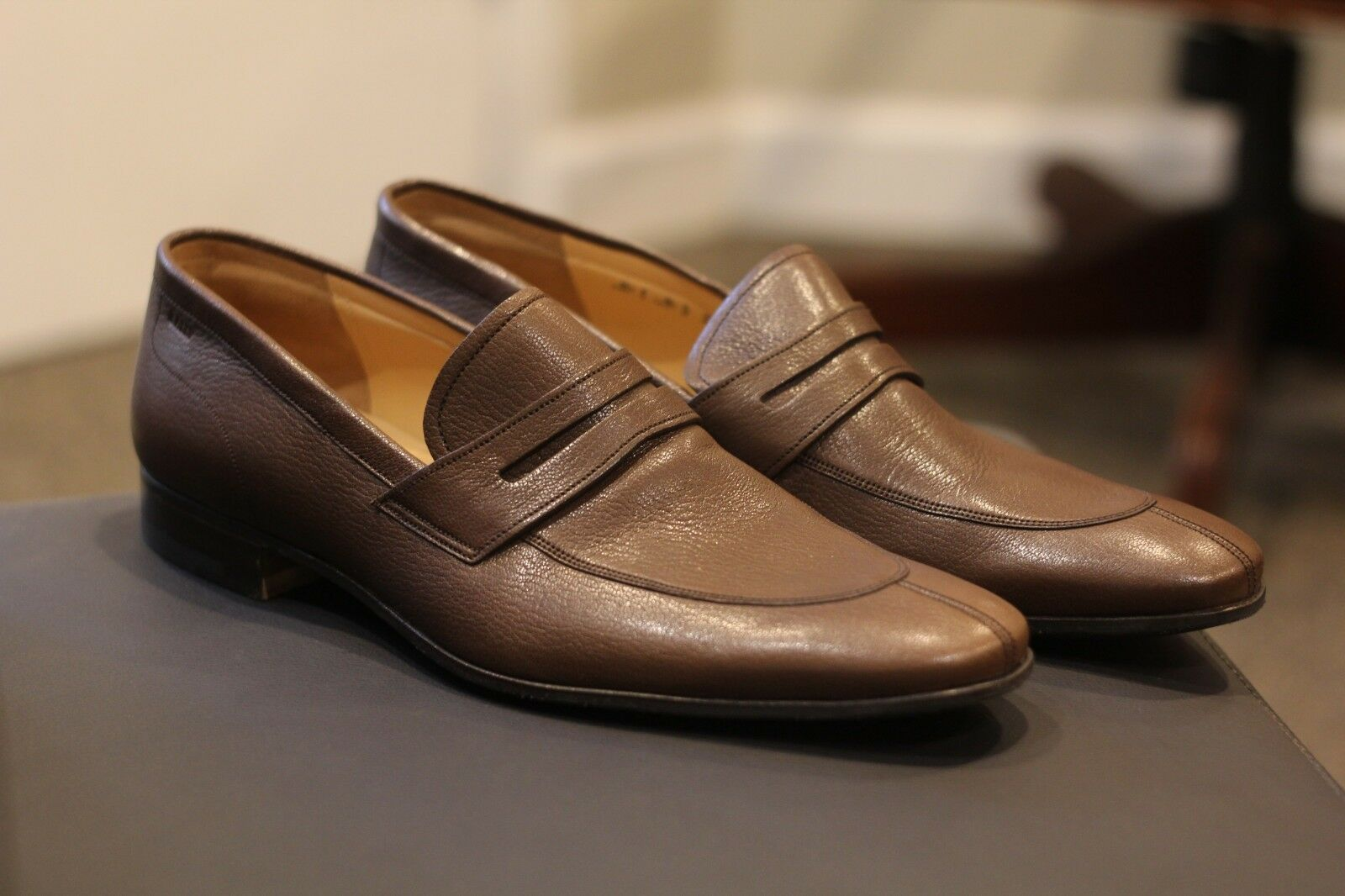 d93c04a113b Bally Dracil Mgold Brown Goat Grained shoes Penny Loafers US Sz 11.5 D  Swiss New