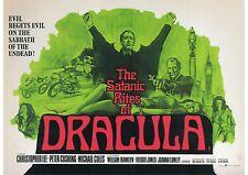 The Satanic Rites of Dracula - Christopher Lee -  A4 Laminated Mini Poster