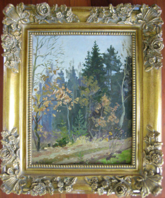 ANTIQUE RUSSIAN OIL PAINTING ZAVYALOV IMPRESSIONISM FOREST FALL LANDSCAPE 1961