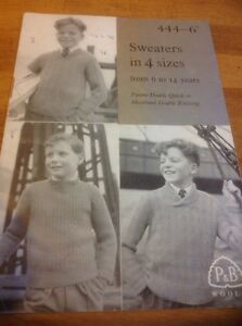 Patons-Beehive-Vintage-Knitting-Pattern-444-For-Boys-6-14