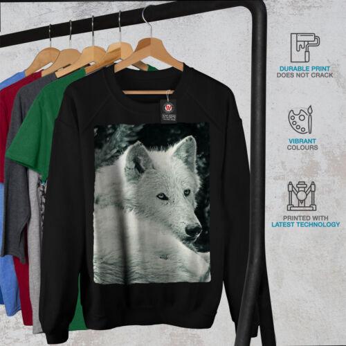 Wellcoda WHITE WOLF Look Da Donna Felpa pericolo cane Casual Pullover Maglione