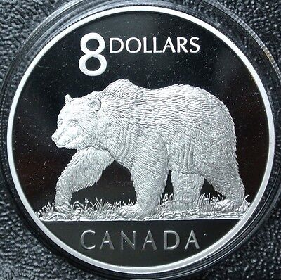 Canada 2004 Great Grizzly Bear Coin and Two Stamps Set $8 Pure Silver Proof