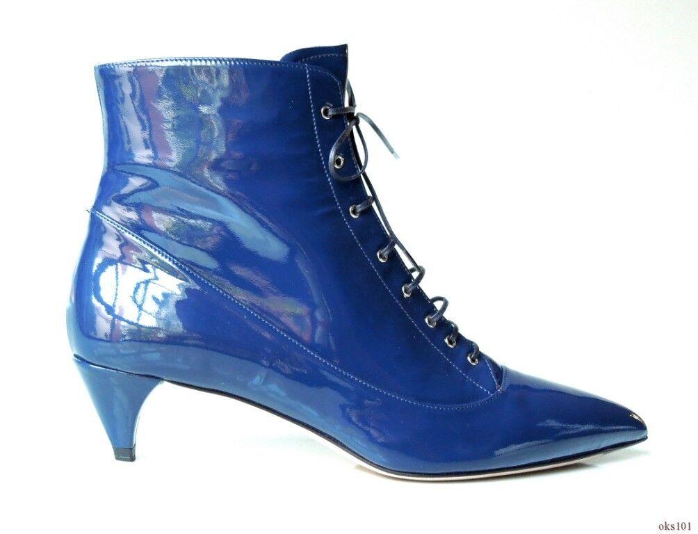 New MIU MIU PRADA PRADA PRADA bleu marine cuir verni bout pointu et Lacets Bottines 38 8 9eb242