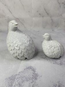 White-Porcelain-Quail-Partridge-Birds-Ceramic-Figurine-Statue-Homco-Farmho