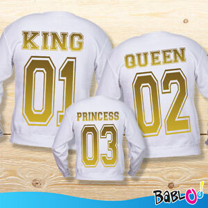 Adulto Princess Tris Oro Queen Felpe Di Family Bianche Bambino king E 00vERS