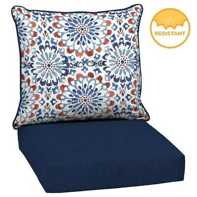 Outdoor Deep Seat Chair Patio Cushions Set Pad UV Resistant Porch Furniture Blue