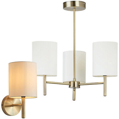 promo code eaa2d 86381 Brass & White Silk Shade Indoor Lighting –Modern Wall Multi Bulb Ceiling  Light | eBay