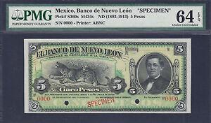 Mexico 5 Pesos ND (1892-1913) SPECIMEN Pick-S360s Ch UNC PMG 64 EPQ