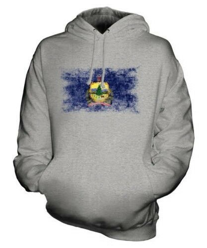 VERMONT STATE DISTRESSED FLAG UNISEX HOODIE TOP VERMONTER JERSEY GIFT