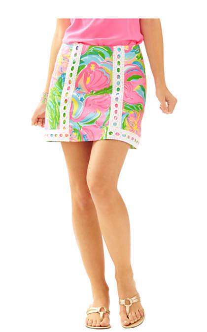 New Lilly Pulitzer Multi Cotton PANSY LACE SKIRT in So A Peeling Pink bluee 2