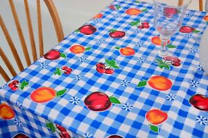 Genial Image Is Loading Oilcloth Tablecloth Gingham And Fruits Oilcloth Tablecloth  Blue